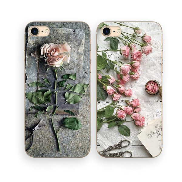 Rose Style Cellphone Silicon Case Back Cover For iPhone 7 6 6S 7 Plus Female European American Type