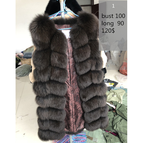 70-90CM Natural Real Fox Fur Vests Winter Long Thick Women Genuine Fur Vest Jacket Real Fur Vest Coat Factory Direct Wholesale Y18101702