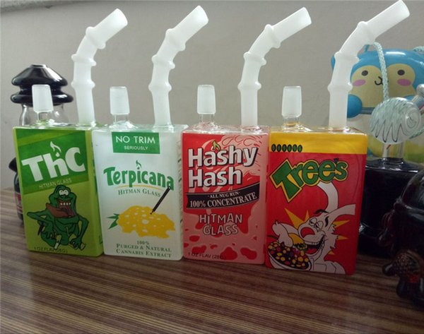 Hitman Glass Juice Box bong Dab Oil Rigs Beaker Bongs Liquid Sci Glass Cereal Box Water Pipes Concentrate Hookahs with Domeless Nail 14mm