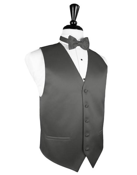2018 neue Ankunft Mens Charcoal Grey Tuxedo Weste Bowtie Set formale Groomsmen Hochzeit plus Größe