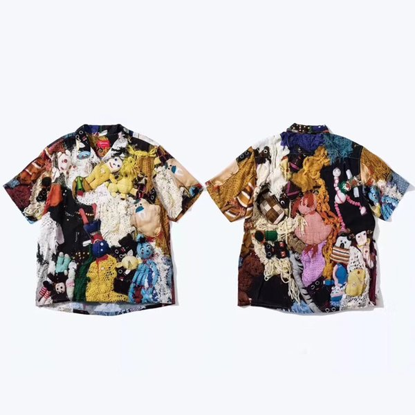 18FW week3 Mike Kelley hours rayon shirt Men Women Summer Cool Beach T-shirt Vintage Casual High-end Street Holiday Tee HFLSCS012