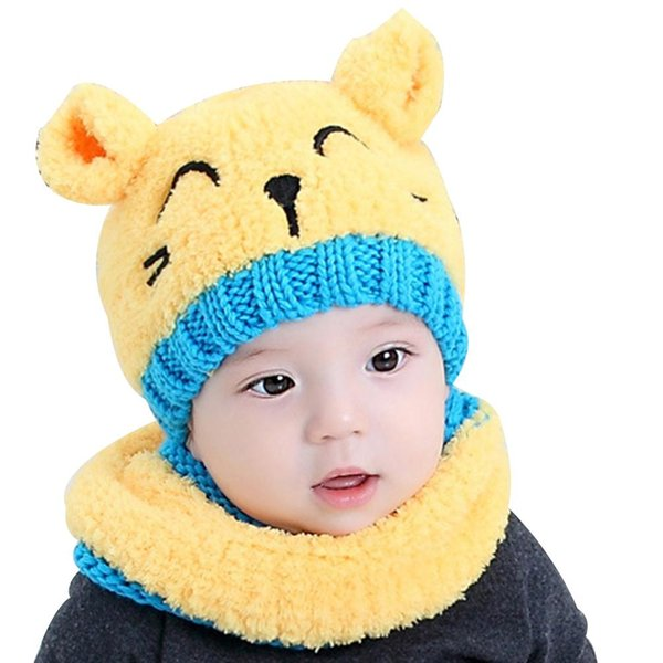 Cute Cat Baby Toddler Autumn Winter Warm Round Hat Beanie Cap + Scarf Set 2018