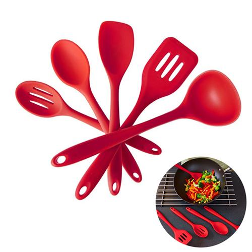 5 Pieces Cooking Utensil Set Spatula ,Spoon ,Ladle ,Spaghetti Server ,Slotted Turner .Cooking Tools ,Silicone Kitchen Utensils