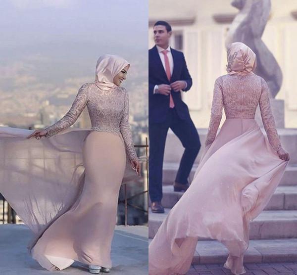 2018 Glamorous High Collar Lace Langarm Mermaid Muslim Brautkleider mit Zug Perlen Abendkleider Plus Size Mutter der Braut Kleider