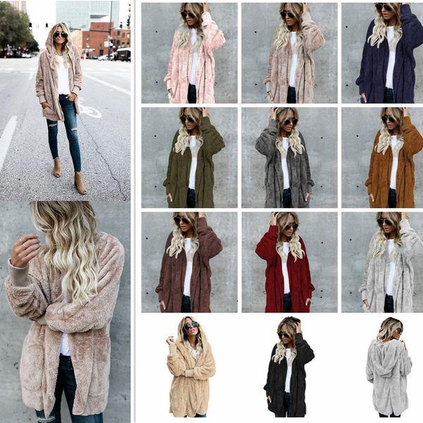 11 Farben Frauen Sherpa Sweatshirt mit Kapuze Mantel Langarm Fleece weiche Strickjacke warme Frauen Mode Winter Kapuzenmantel AAA1030