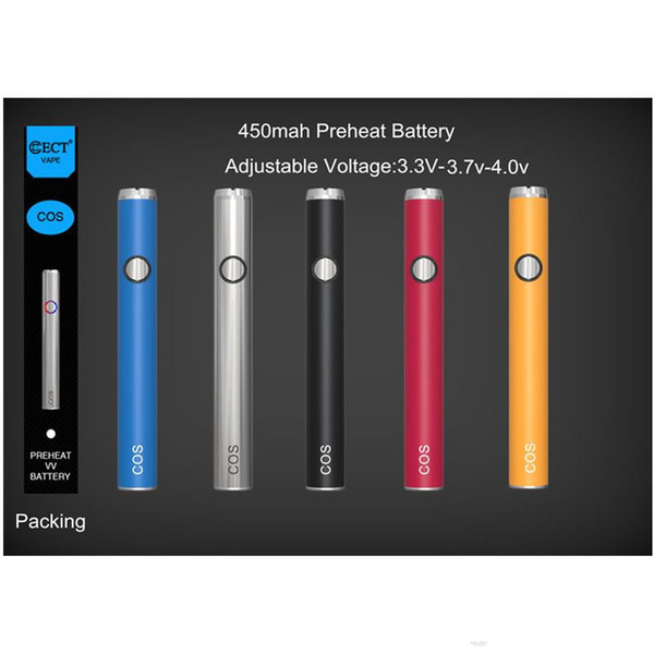 hot sell ECT COS Preheating Battery 450mah 510 Thread e cigarette Variable Voltage 3.4-3.7-4.0v Preheat Battery For Thick oil atomizer