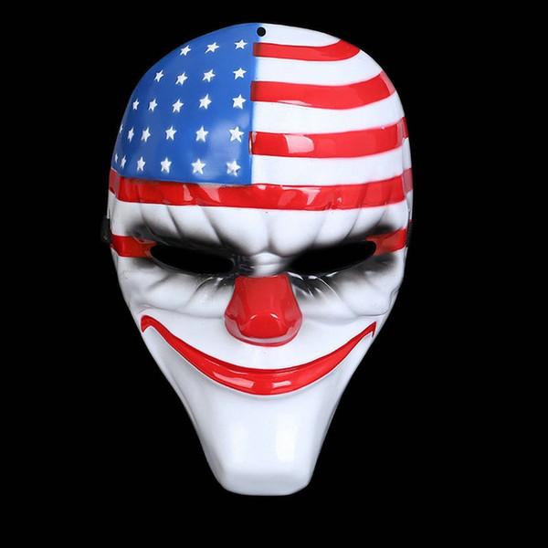 300pcs máscaras de payaso de Halloween Payday2 payaso de los niños Cosplay fiesta mardi gras Máscaras de disfraces de cabeza roja Máscara de bandera nacional
