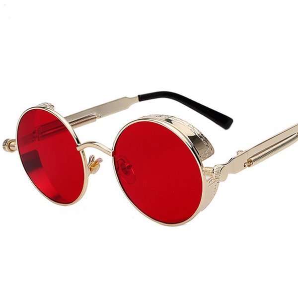 2018 neue Mode Männer Frauen Gläser Luxus Designer Retro Vintage Sonnenbrille Beste Uv400 Runde Metall Sonnenbrille Steampunk Großhandel