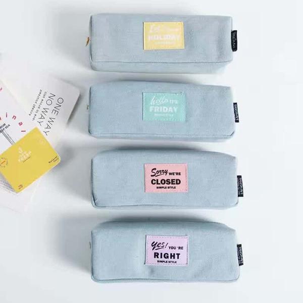Suministros Pencilcase Box Pouch Pen Cajas para niños escolares Kawaii Bag Bolsas de lona Hot Large Capacity Metal Plastic Canvas