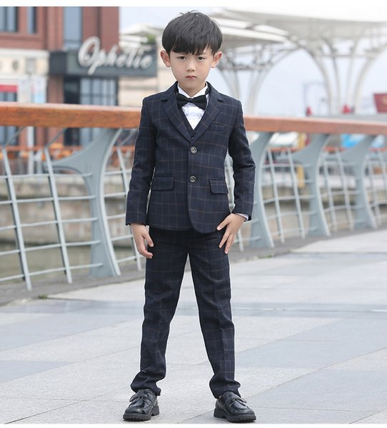2018 Two Button Kids Gray Formal Party Tuxedos Damier Check Fabric Three Five Pieces Suits (Blazer+Pant+Vest+Shirt+Bow Tie) Boys Wedding Set
