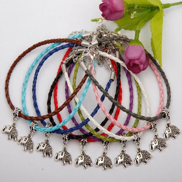 Hot Selling Antique Silver Elephant Charm Pendant Multicolor Leather Rope Bracelet Fashion Creativity Women Jewelry Accessories Holiday Gift