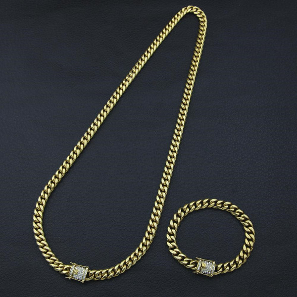 Fashion Design Cuban Chain Hip Hop Necklaces and Bracelets Top Quality Luxury 18K Gold Plated Hiphop Jewelries Sets Free Shipping