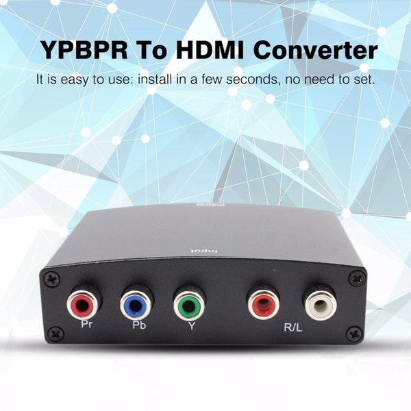 Freeshipping 1080p Component to HDMI Converter RGB YPbPr to HDMI Converter AV Video Audio HDCP YPbPr/RGB + R/L audio to HDMI Converter