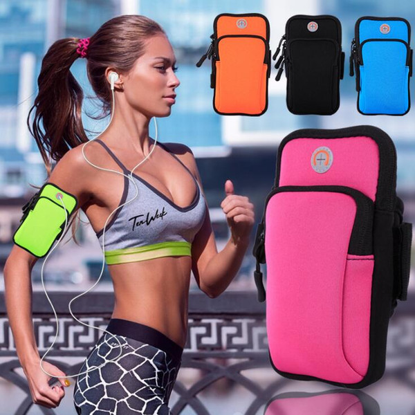 Fashion Sport Armband Case Zippered Fitness Running Arm Band Bag Pouch Jogging Workout Cover For Mobile 7Plus Smart Phone Bag(4-6inches)