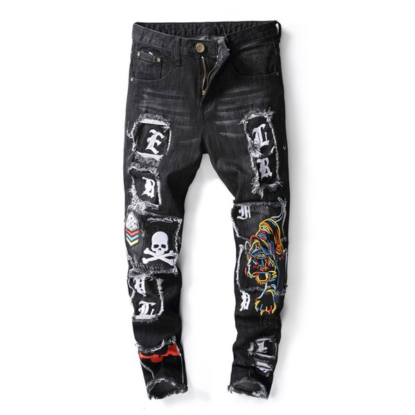 New male embroidery tiger skulls patches scratched jeans black slim fit skinny stretch pencil denim pants for men stage stylish