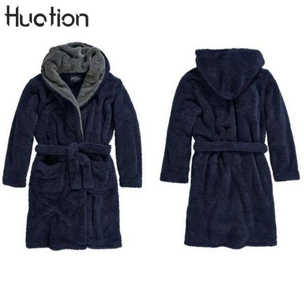Huation New Longline Hooded Robes Uomo Fleece Accappatoi Per Uomo Inverno Tenere Al Caldo Squisita Peluche Uomini Abito Coppie Abiti Cardigan