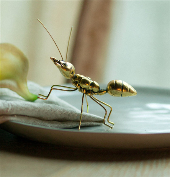 Handmade Vintage Copper Gold Ornaments Ant Super Cute For Home Office Art Craft Gifts Miniature Fairy Garden Home Decoration