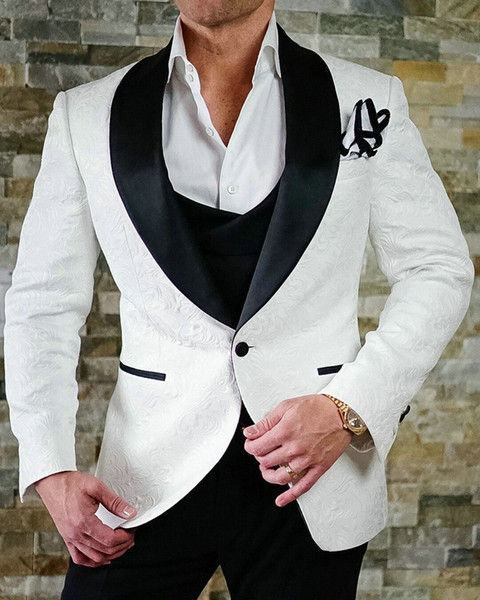 2018 Marque Modèle Costumes Hommes Noir Blanc Motif Lapel Costume hommes Slim Fit Groom Tuxedo 3 Pieces mariage Prom Blazer Terno Masculino