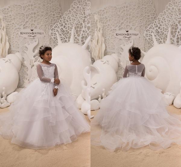 Schwarze Mädchen Weiß Kleine Mädchen Festzug Kleider Lange Illusion Ärmeln Sheer Rundhalsausschnitt Tiered Tulle Blumenmädchen Geburtstagskleider