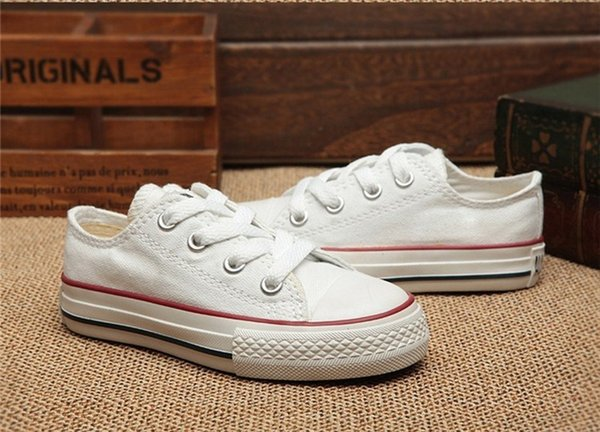 top popular New Brand Kids Star Canvas Shoes Fashion High Low Children Shoes Boys and Girls Sports Chuck Classic Canvas Shoe Size 24-34 B11 2021