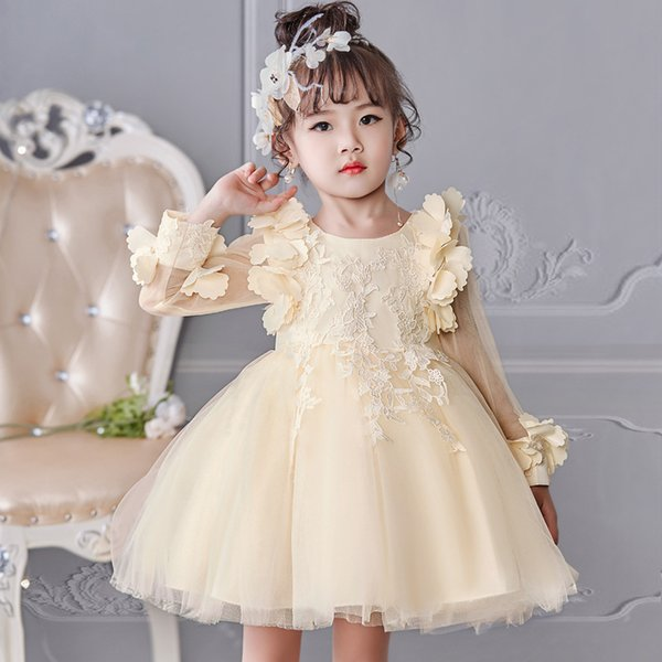 Lace Backless 2018 Cheap Flower Girl Dresses Cap Sleeves Baby Girl Birthday Party Christmas Communion Dresses Children Girl Party Dresses