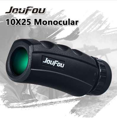 JouFou 10X25 Mini Monocular Binocular HD Waterproof Bak4 FMC Optical Glass Prism Telescopes for Camping Hunting Bird Watching