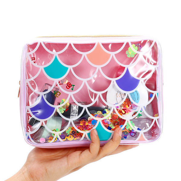 Mermaid PVC Cosmetic Bag For Women Waterproof Clear Makeup Bag Portable Toiletry Wash Storage Pouch Beach Jelly Purse for travel