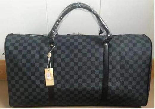 Keepall Travel Luggage Bag Damier Graphite PU Leather Handbag Men Travel Bags Mens Travel Totes Bag Mens Duffle Bag 55CM