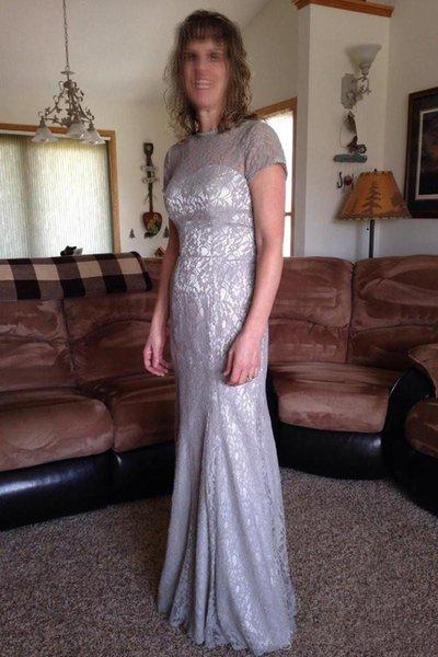 Винтаж с коротким рукавом серебро мать невесты платье кружева длина пола формальные свадебные платья партии видеть сквозь мать платья