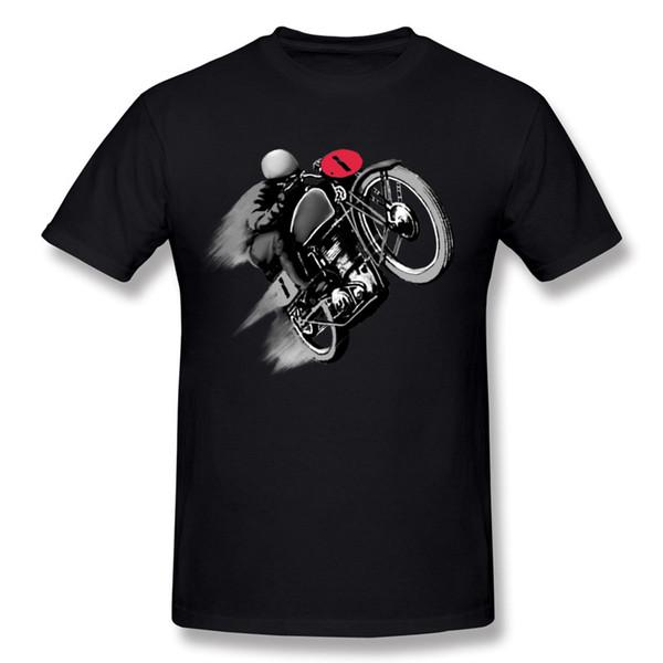 Hot Sale Man 100% Cotton Vintage Cafe Racer One T-Shirts Man Crewneck Black Shorts Shirt For Mens Plus Size Party T-Shirts