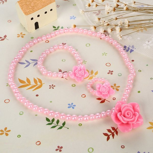 Beaded Children imitation Pearl Jewelry Best Baby Pink Girl Kids Jewelry Set Rose Flower Necklace Bracelet Ring free shipping 2018 hot sales