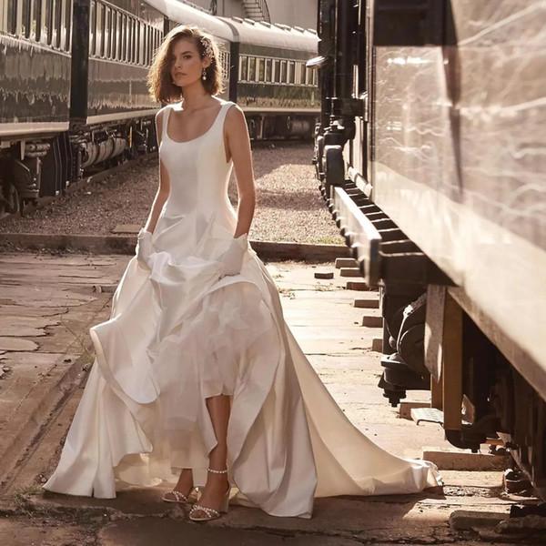 Günstige A-Linie Satin Land Brautkleider Scoop Neck Backless Sweep Zug Satin Brautkleider Plus Size Formal Wedding Wears