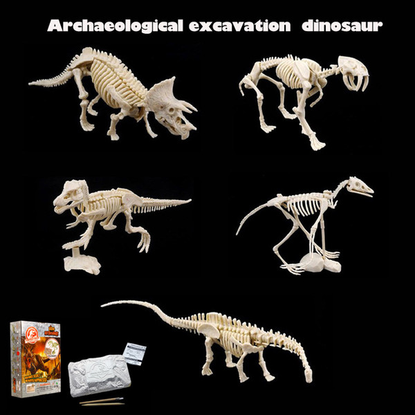 top popular Archaeological toy creative DIY mining dinosaur fossil assembly model toy Tyrannosaurus Rex Raptor Child building block toy 2021