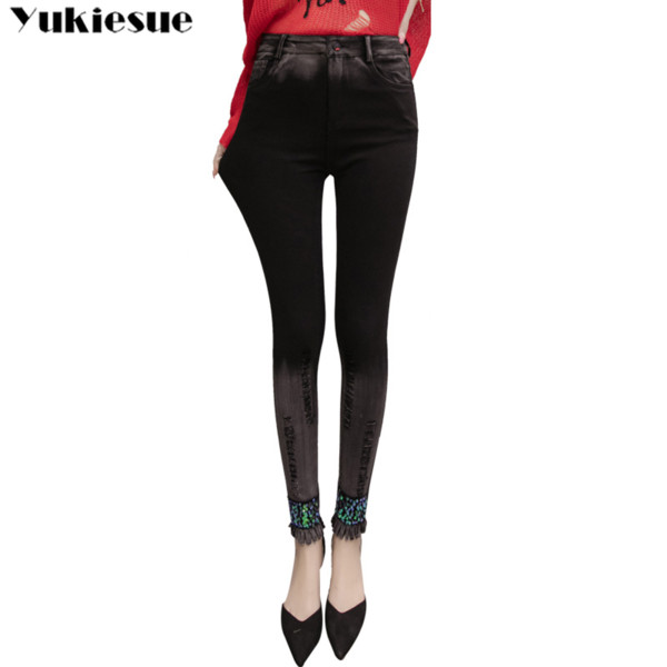 Jeans woman Female Pencil Pants Slim skinny Jeans Trousers for Women womens with high waist sequined washed tassel