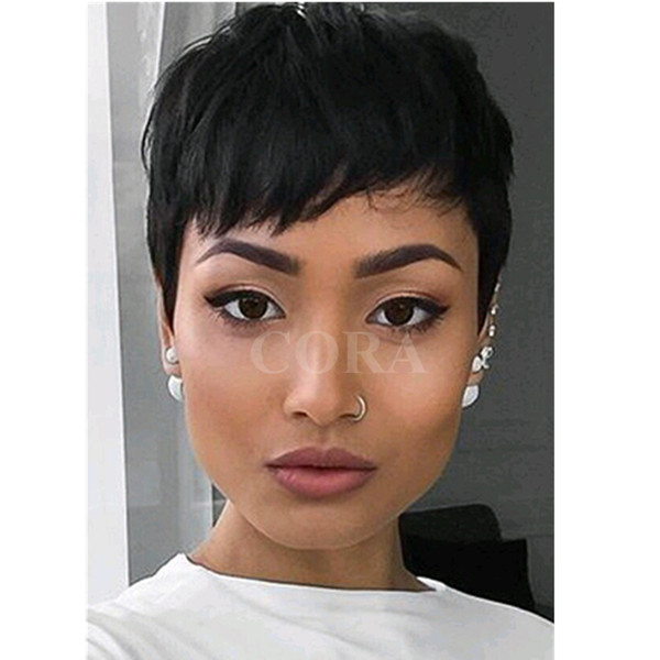 Human short Hair Lace Wigs for Black Women Lace Front Wigs Body Wave Top Quality Hair Wig Natural Color machine made wigs