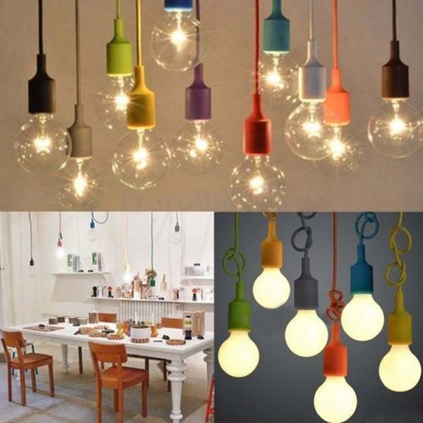 1M DIY Colorful Silicone Ceiling Braided Cord Pendant Lamp Holder For E27 Light Bulb free shipping