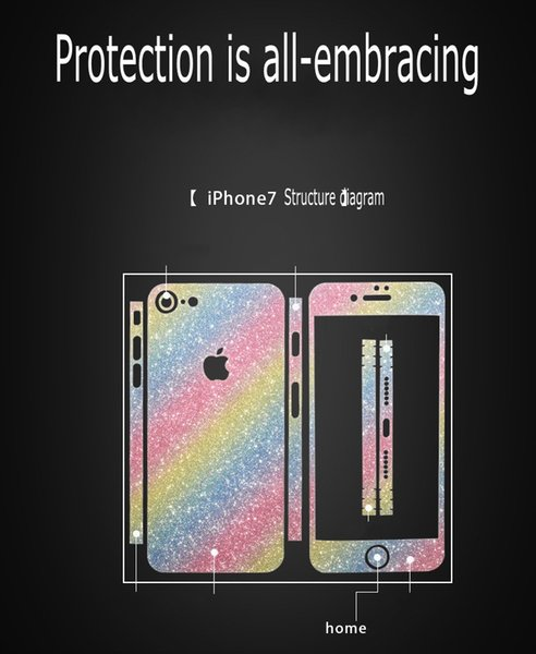 2018 new Glitter Bling Shiny Full Body Sticker Matte Skin Screen Protector For iphone7 7plus 6 6S plus 5 5S iphone 8 plus 6p/6sp Front+Back