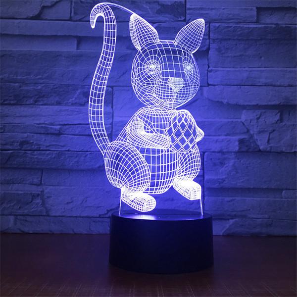 Wholesale New Design DC 5V USB Powered AA Battery Powered Hot 3D Rabbit Pattern Illusion Lamp 7 RGB Lights 3D LED Light