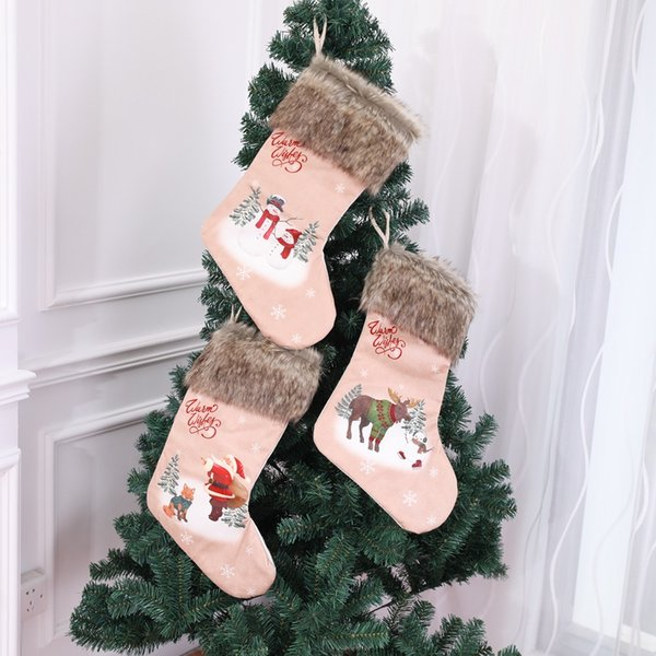 Non-woven Plush 1pc Santa Snowman Elk Stocking Christmas Gift Bags For Home Xmas Tree Decoration Hanging Ornament Party Supplies