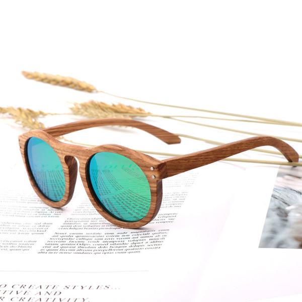 Occhiali da sole rotondi da donna vintage Occhiali da sole polarizzati da uomo Designer di marca Zebra Wood
