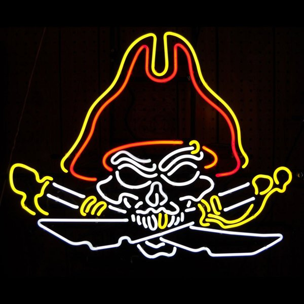 NEON SIGN Pirate skull Cranial skeleton head Signboard REAL GLASS BEER BAR PUB display christmas Light Signs 18*18""