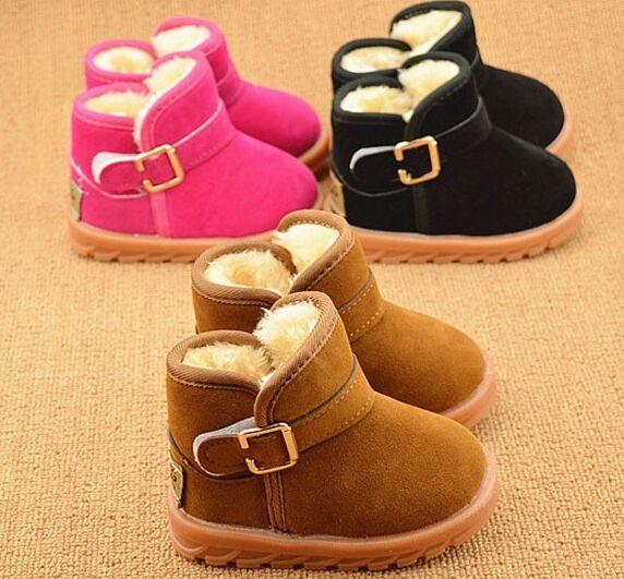 top popular Winter Children Boots Thick Warm Shoes Cotton-Padded Suede Buckle Boys Girls Boots 2016 Boys Snow Boots Kids Shoes EU 21-30 2019