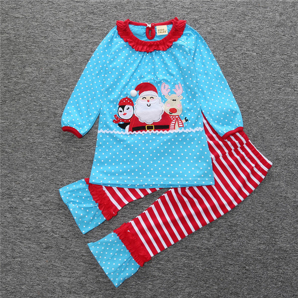 Blue Polka Dot Baby Girls Christmas Clothes Sets Santa Girl Dress Leggings Clothes Suit Children Blouses Pants Kids Outfits 1-6Y