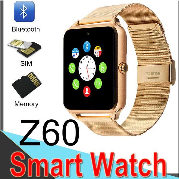 Bluetooth Smart Watch Z60 Wireless Smart Uhren Edelstahl Für Android IOS Unterstützung SIM TF Karte Fitness Tracker mit Kleinkasten XCTZ0