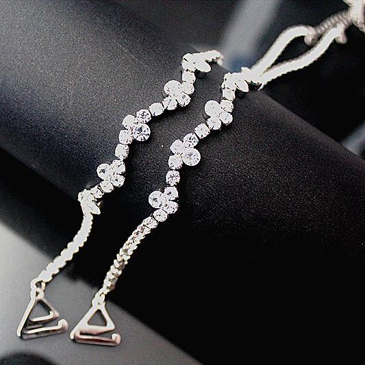 Single-row rhinestone bra straps flowers simple encryption crystal straps fashion lingerie chain strap for wedding dress