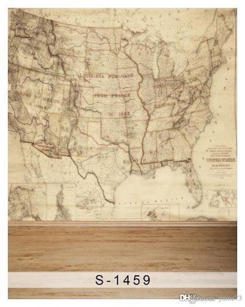 5x7ft Vinil EUA América Mapa Território Fotografia Estúdio Backdrop
