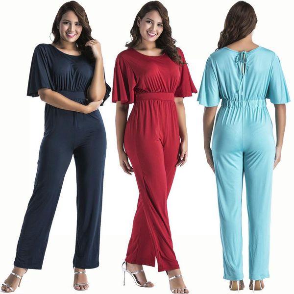 Rompers Womens Jumpsuit 2017 short-sleeved Cape Overalls For Women Jumpsuit Romper Long Pants Women for 8 colors L-3XL 008#