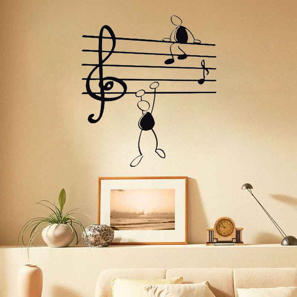Wall Stickers Decor Bedroom Decals Removable Vinyl Art Decor Wallpaper  Custom Music Note Symbol Simple Pen Men Stickers Wall Mural Decals Adhesive  ...