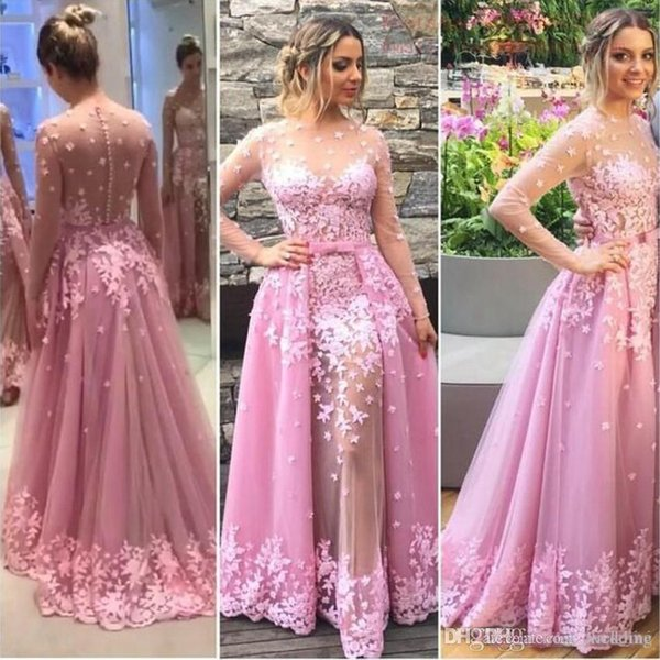 Lace Applique Beads Ball Gown Evening Gown Floor Length Long Sleeves Aribic Prom Dresses Illusion Hand Made Flower Pink Prom Party Dresses