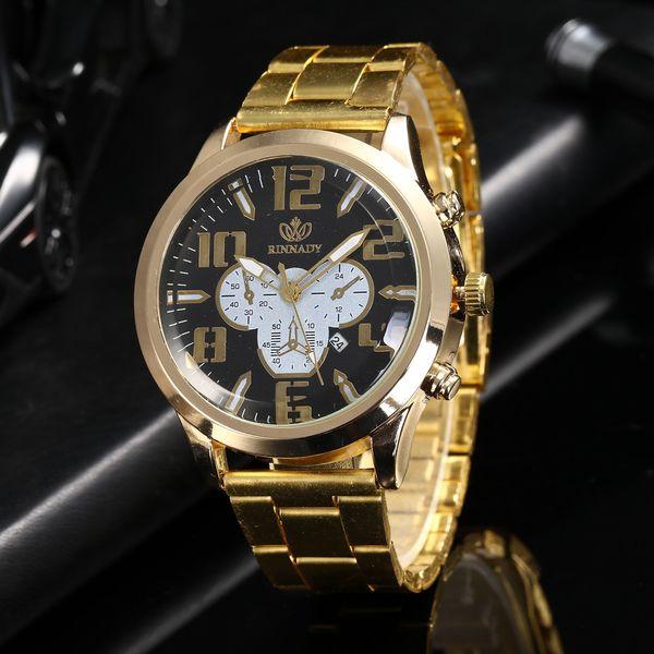 Relógio de luxo Relogio masculino Reloj Hombre Kol Saati Calendário Quartz Homens Moda Wist Assista Aço Strap Erkek Kol Saati